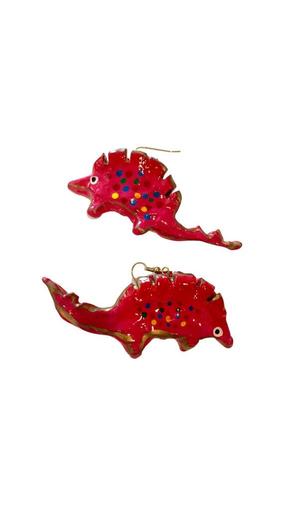 Groovy Pink Polka Dot Dinosaur Earrings! BIG Artisan hand painted Mache Critter Statement Earrings