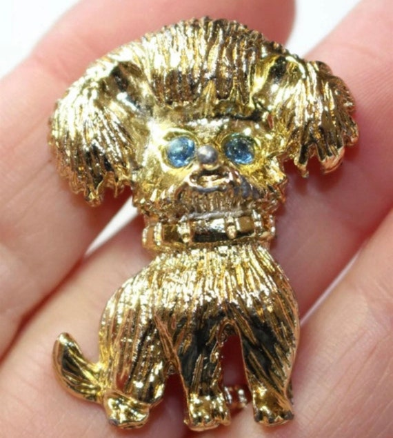 Crazy Looking Kitsch Dog Pin with Aqua Rhinestone Eyes, Mid Century Collectible Jewelry, Vintage Brooch
