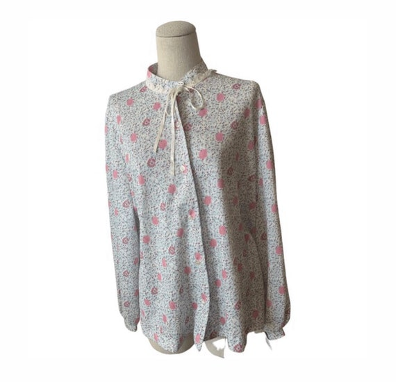 Dainty Floral Blouse with neck tie, now trending Prairie Style Shirt by Lucky Tops