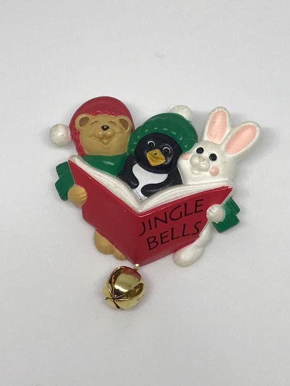 Adorable Bear Penguin Bunny Critter Animal Choir Vintage Halmark Cards Christmas Holiday Pin