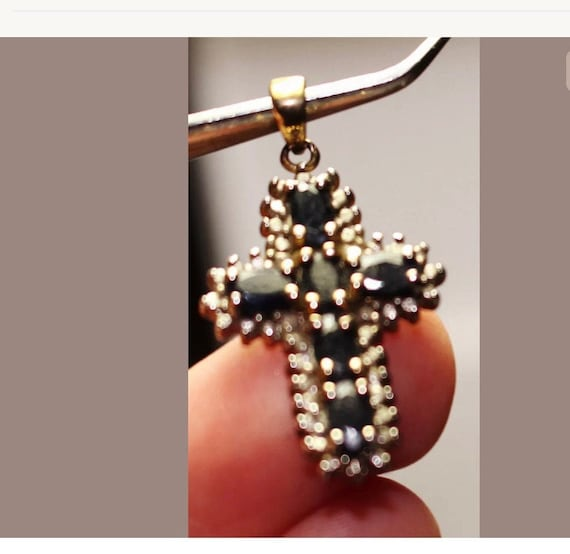 Small 925 Sterling Silver Cross Pendant with Black Gems, Make your Own Necklace Charm
