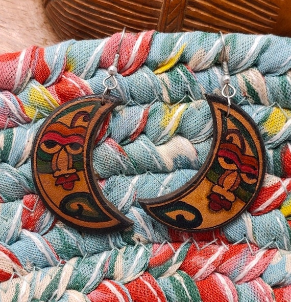 Tooled Leather Crescent Moon Dangles, Cute Vintage Boho Earrings by Charming Shark