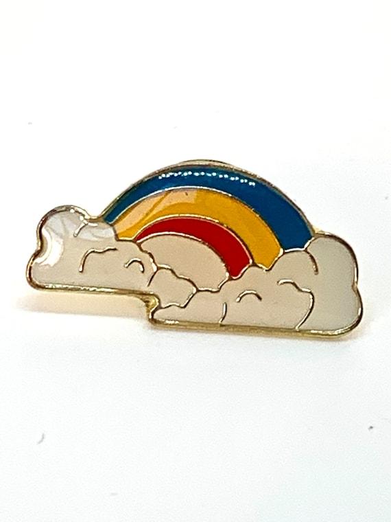 Vintage Rainbow Push Pin  Back Enamel Tack Pin, I love rainbows!
