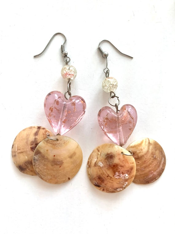 Y2K Pink Heart Dangles, Dichroic Glass and Shell Boho Glam Statement Earrings, 90s Vintage Glamour Jewelry