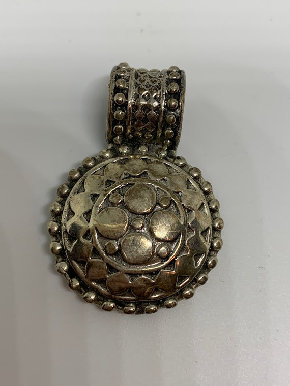 Make Your Own Necklace- Ornate Boho Silver tone Southwestern Pendant, Vintage 80s Costume Jewelry