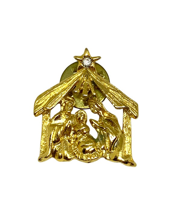 Little Golden Nativity Tack Pin, Holiday Christmas Lapel Pin or Tie Tack