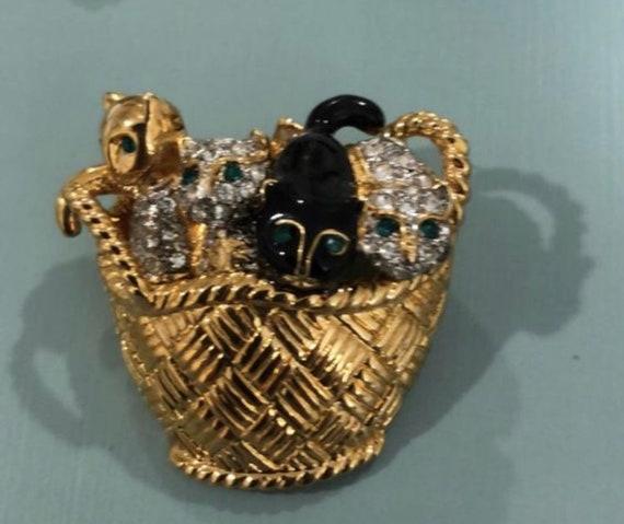 Cat Lovers Dream Pin! Basket of Joyful Bling Kitties, Enamel and Rhinestone High End Vintage Brooch, Cats in a Basket Lapel Pin