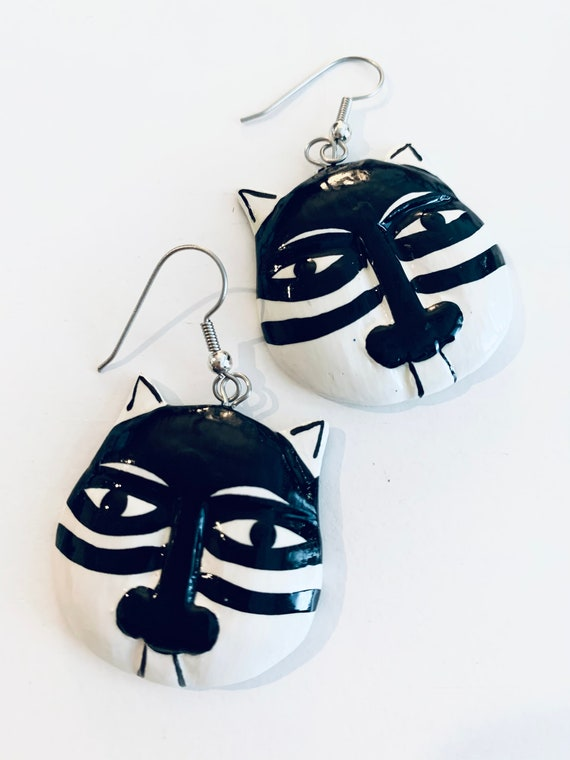 Vintage Graphic Cat Earrings, Black and White Hand Painted Wood Kitty Dangles, Funky Feline Tribal Jewelry!