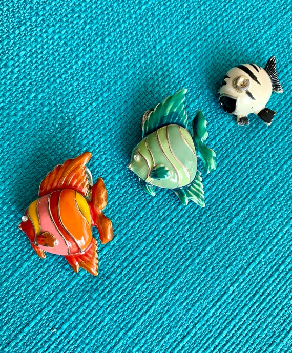 Happy Vintage Enamel Fish Pins that Look so Cute Together, Orange Deco Green and Black and White, 2 are also Pendants
