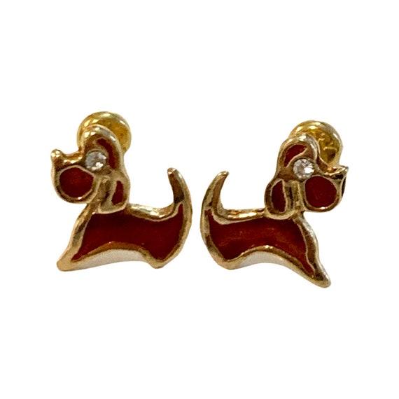 Miniature Dachshund Studs, Teeny weenie Weiner  Dog Earrings