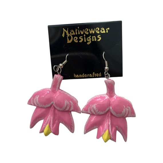 Vintage Pink Flower, Artisan Hand Painted Carved Wood Floral Statement Earrings, Lily Pad