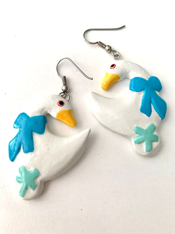 Country Goose Dangles, Vintage Hand Painted White Ducks or Geese with Baby Blue Bows Carved Wood Earrings