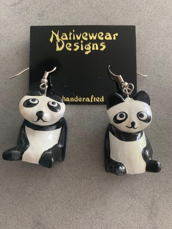 Vintage Panda Bear Dangle Earrings, Artisan Hand Painted Carved Wood Statement Earrings, Unworn