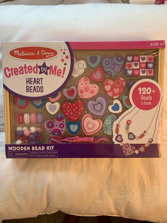 Melissa & Doug Heart Beads Created by Me Make Your Own Beads Necklace Kids Craft Kit