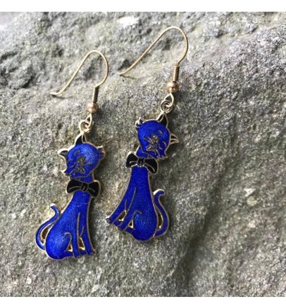 Royal Blue Enamel Kitty Cat Earrings, Silver tone Dangles