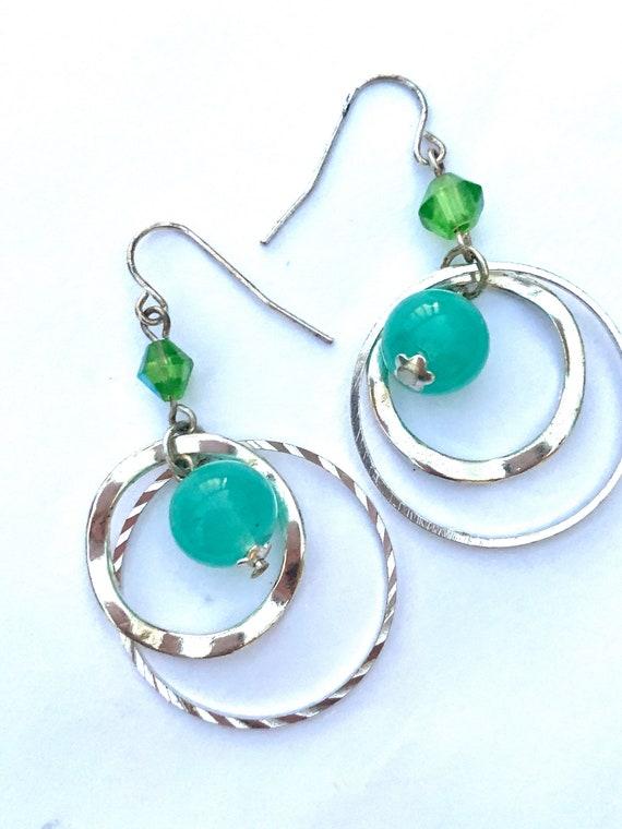 Aqua Beaded Double Hoops, Boho Glam Junior Vintage Hoop Earrings, Under 20 Dollars Tween Teen Fashion Jewelry