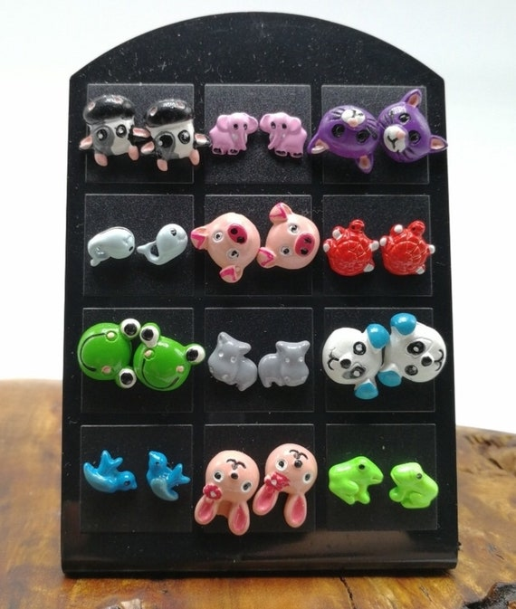 Fun collection of 12 critter stud earrings, adorable tween fashion jewelry