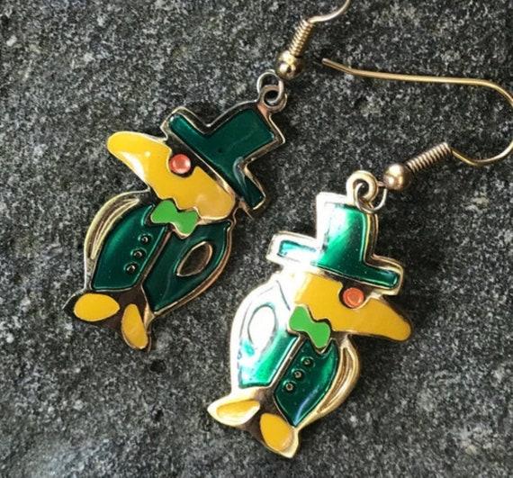 Weird Yellow Bird wearing Irish Green Top hat and Suit, Mascot enamel dangle earrings