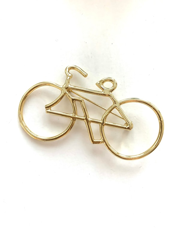 80s Golden Bicycle Pin, Chic Modernist Openwork Shiny Bike Brooch, New Wave Unisex Lapel Pin, Cycling Enthusiasts