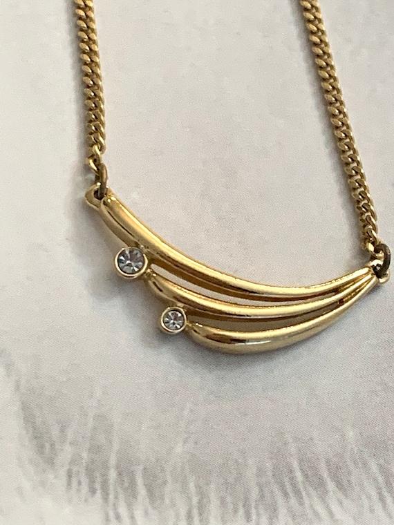 Art Deco Rhinestone Pendant On Gold Chain Unworn 70s Disco Vintage Minimalist Necklace