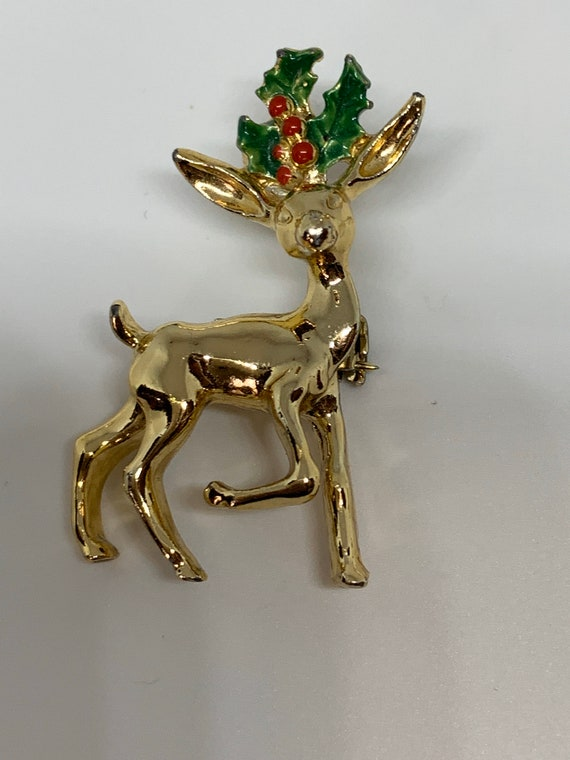 Prancing Reindeer with Holly  Christmas pin signed Gerrys collectible vintage brooch