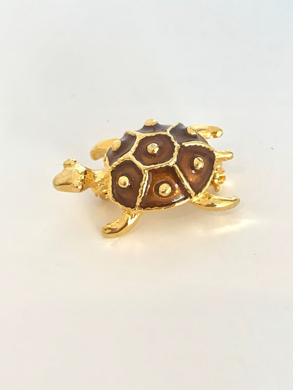 Cute Toffee Enamel Golden Turtle Pin, Tiny Mid Century Collectible Figural Vintage Brooch