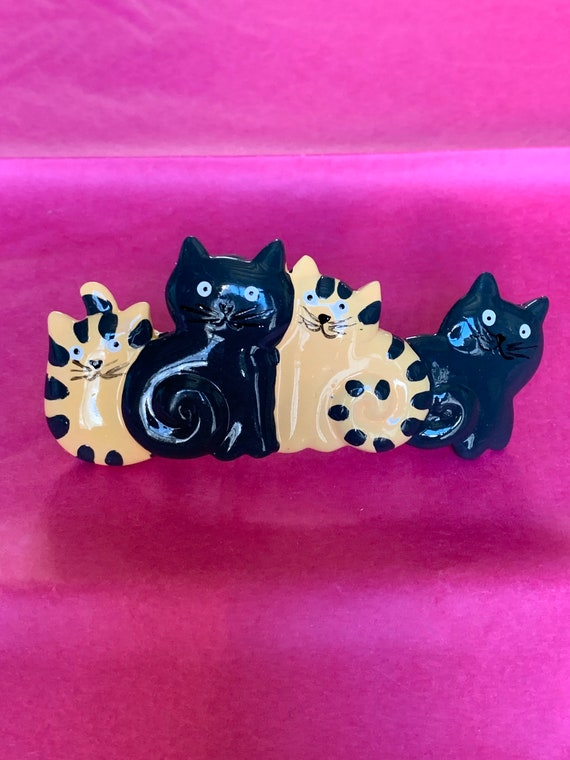 Tiger Cats and Black Cats Hanging Out Barrette, Kitsch Kitties for your Cat Lovers Hair Clip