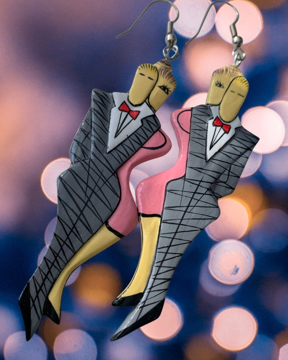 Roaring Twenties Art Deco Fancy Couple Dangles, 80s Glam Vintage Artisan Hand Painted Statement Earrings, Putting on the Ritz New Years Eve