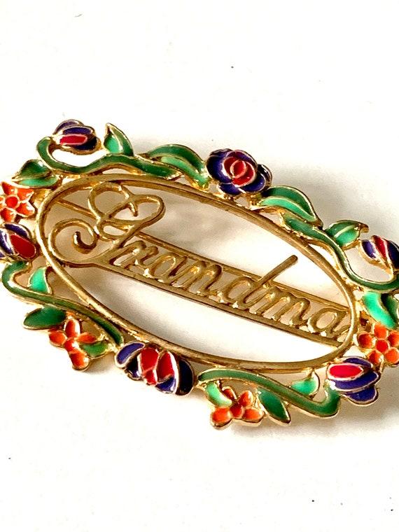 Dainty Openwork Enamel Grandma Pin, Vintage Brooch