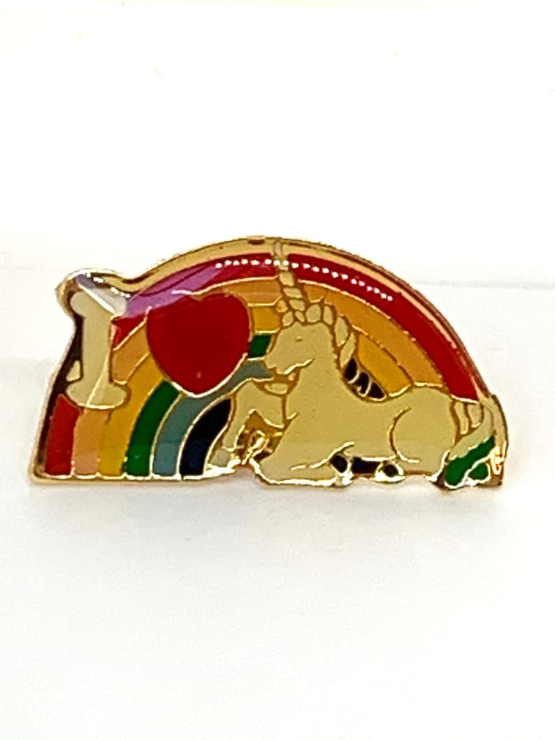 I love rainbow unicorns! Vintage Rainbow Heart Unicorn Push Pin  Back Enamel Tack Pin