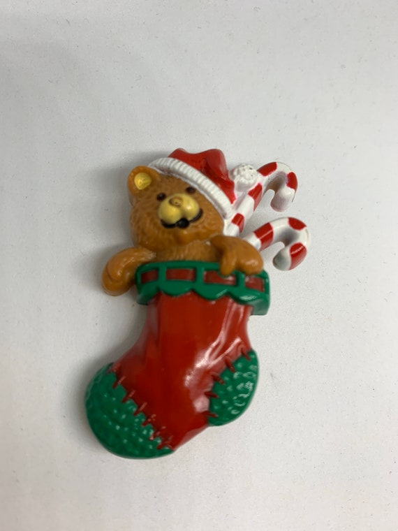 Darling Holiday TEDDY BEAR In CHRISTMAS Stocking with Candy Canes, Vintage Hallmark Cards Holiday Christmas Pin
