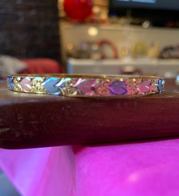 Heart Bangle Bracelet, multicolor metal tones, rose gold copper silver and Gold Tones, matches most Jewelry