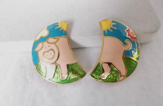 Adorable Edgar Berebi- mes annees folles- enameled pig clip on Statement earrings