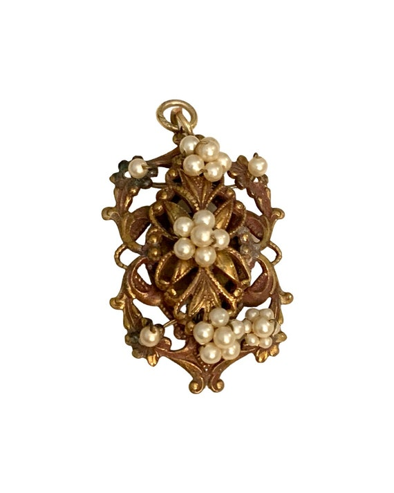 Make Your Own Victorian Style Necklace- Ornate Brassy Golden Pendant with Faux Pearls, Vintage 40s or Earlier Costume Jewelry