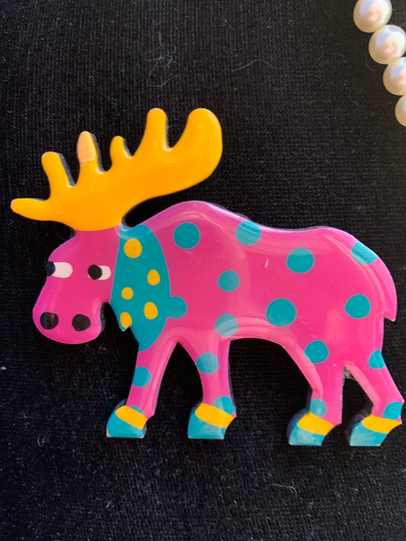 Whimsical Pink Polka Dot Moose Brooch, Hand painted, Awesome 80s Punky Critter Pin, Super Fun Gift