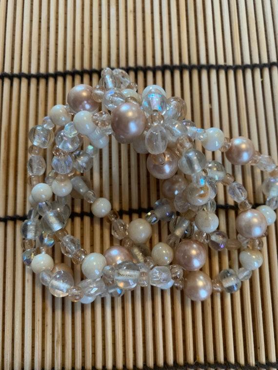 Fancy Art Glass and Beige Pearl Multi Strand Hair Elastic, hair jewelry, hair tie, can wear as a bracelet too!