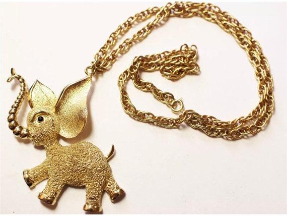Fantastic Mid Crntury Goldtone Lucky Joyful Golden Elephant Pendant Necklace