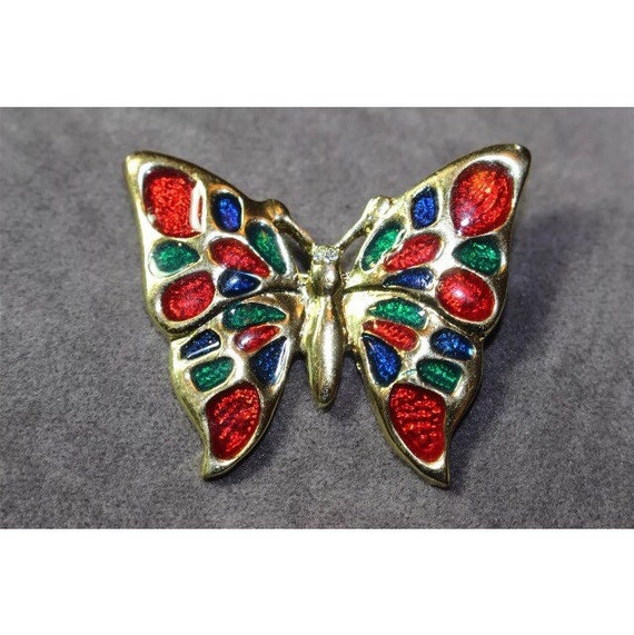 Pretty Red and Blue Enamel Golden Butterfly Pin