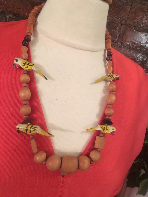 Mid Century Wooden Painted Parrot Beads