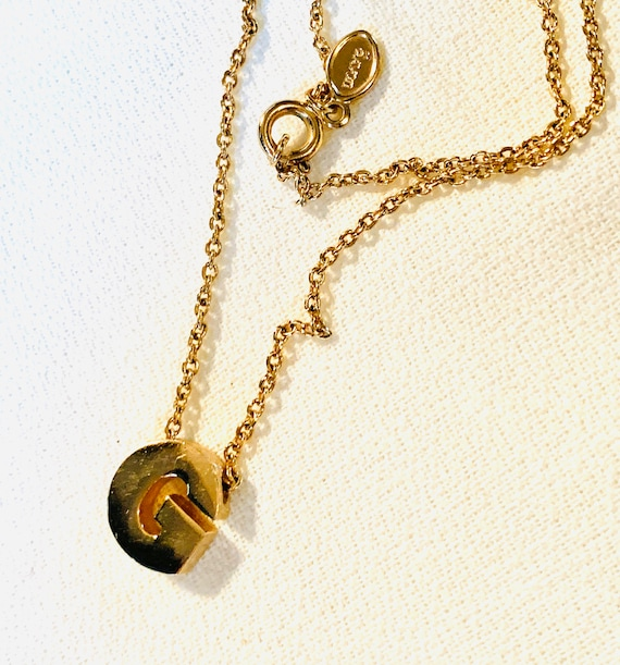 AVON Letter G Necklace, Chic Minimalist Monogram, Name Initial G Pendant on Adjustable Gold Plate Chain, Unworn Old Stock