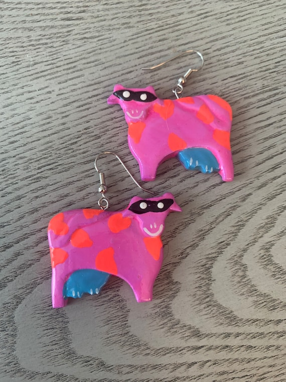 The Cows are Back in NYC, so perfect time for vintage artisan handpainted and Carved Purple Cow Earrings, Boho Tribal Jewelry!
