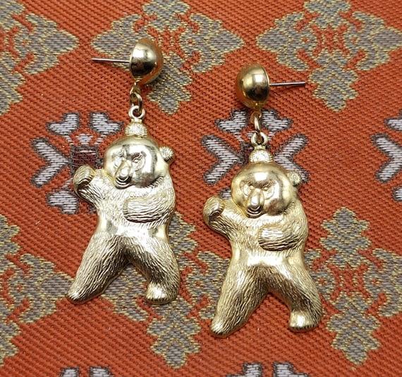 Dancing Bear Dangles, Pressed Gold Tone Vintage Earrings, Cheerful Fun Critters