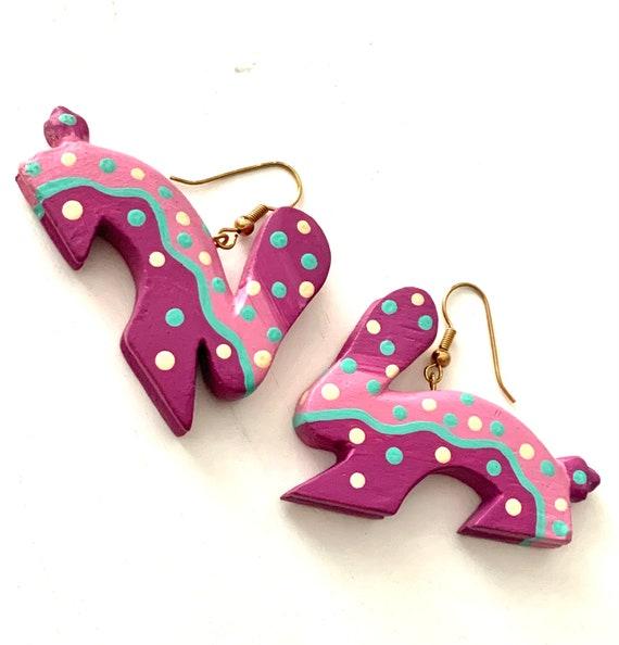 Wild Purple Bunny Dangle Earrings, Artisan Hand Painted Carved Wood Southwestern Style 80s Pop Art Rabbit Statement Earrings
