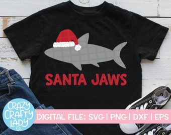 Santa Jaws SVG, Christmas Cut File, Holiday Shark Design, Funny Beach, Cute Kid SVG, Winter Baby Design, dxf eps png, Silhouette or Cricut