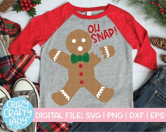 Oh Snap SVG, Christmas Cut File, Gingerbread Man Design, Funny Holiday Quote, Cute Kid Saying, Winter Baby, dxf eps png, Silhouette & Cricut