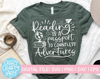 Reading Is a Passport to Countless Adventures SVG, Reader Cut File, Book Club Saying, Book Lover Quote, dxf eps png, Silhouette or Cricut
