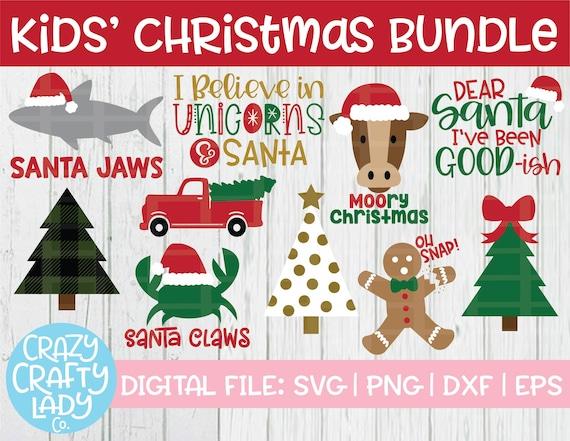 Kids Christmas Svg Bundle Funny Holiday Cut File Winter Etsy