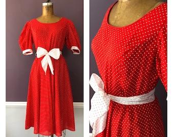 5f0b33f383c57 Vintage 80s Polka Dot Prairie Dress with Contrast Tie Belt / Vintage 80s  Church Sunday School Puff Sleeve Red Dress