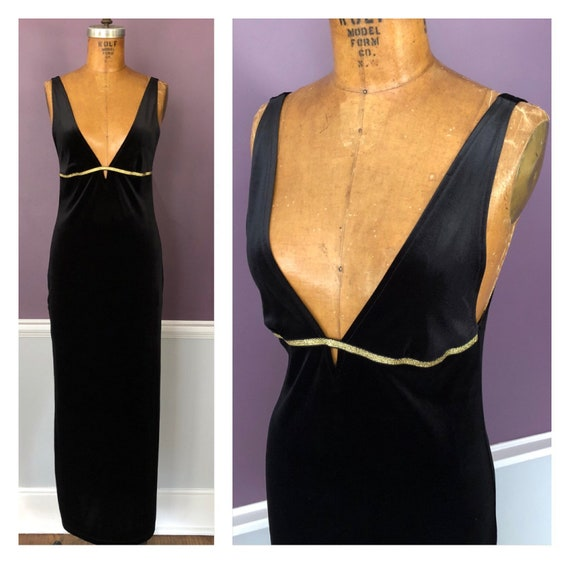 Sexy 90s Stretch Velvet Empire Slip Dress with Dee