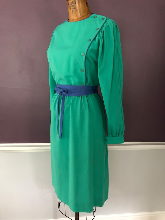 Vintage 80s Leslie Fay Romantic Bib Dress / 1980s… - image 4